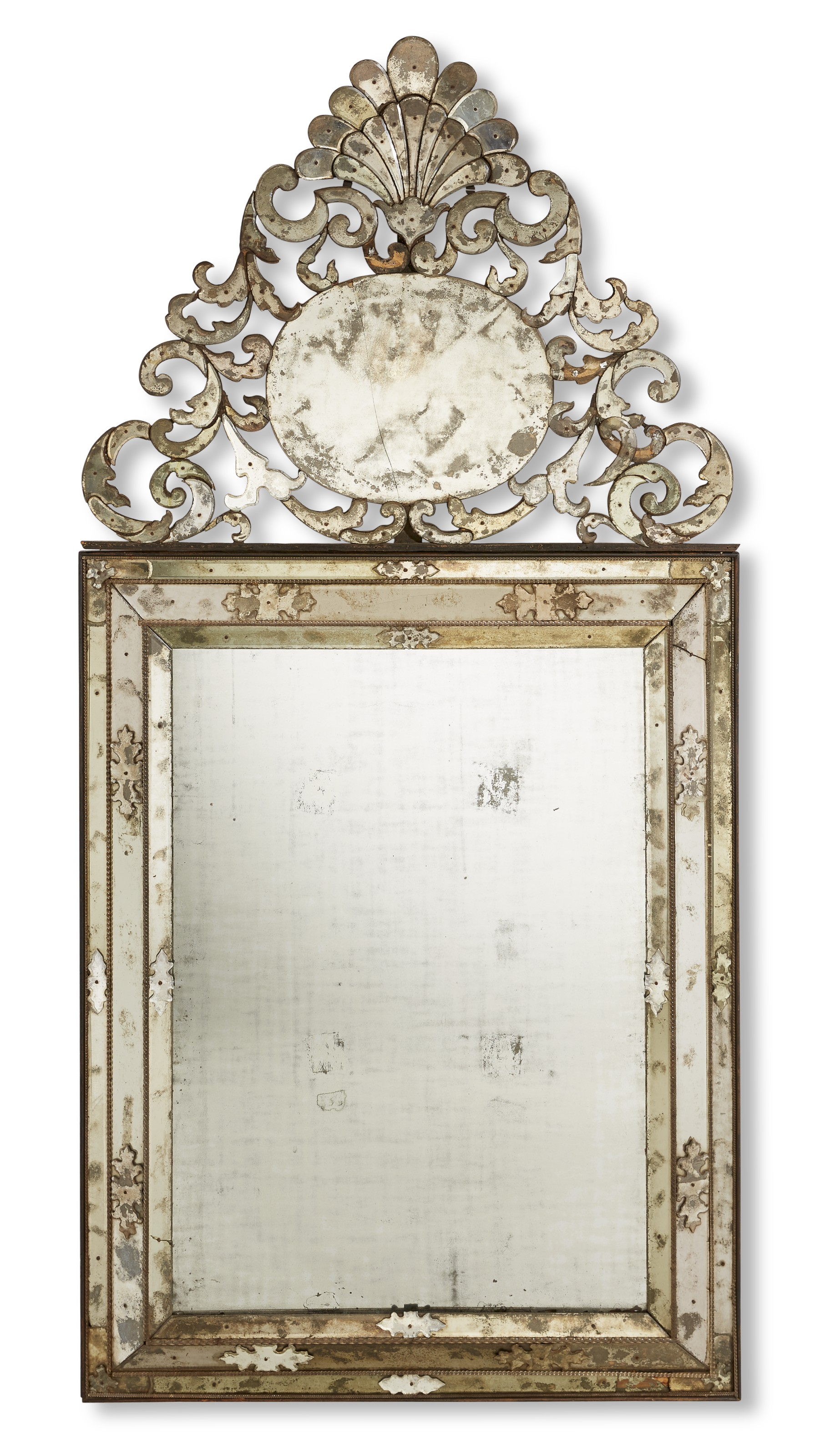 A north Italian clear glass mirror, probably Venice, c. 1725. 100.5  in (255.5  cm) high, 49  in (124.5  cm) wide. Estimate $20,000-30,000. Offered in The Collector English & European Furniture, Ceramics, Silver & Works of Art on 5-19 October 2021 at Christie's Online