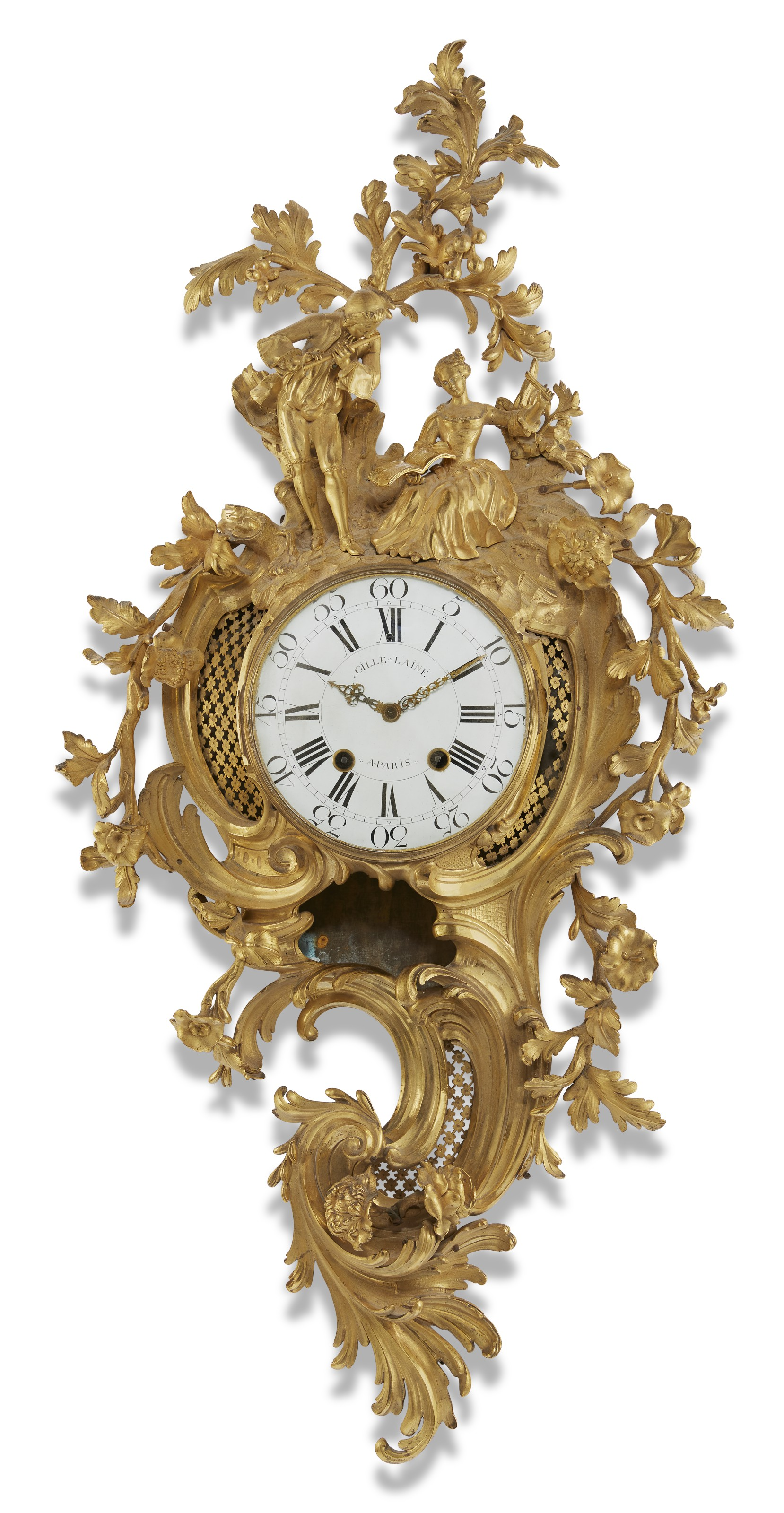 A Louis XV ormolu cartel clock, second quarter 18th century. 49  in (124.5  cm) high, 23½  in (62.3  cm) wide. Estimate $10,000-15,000. Offered in The Collector English & European Furniture, Ceramics, Silver & Works of Art on 5-19 October 2021 at Christie's Online