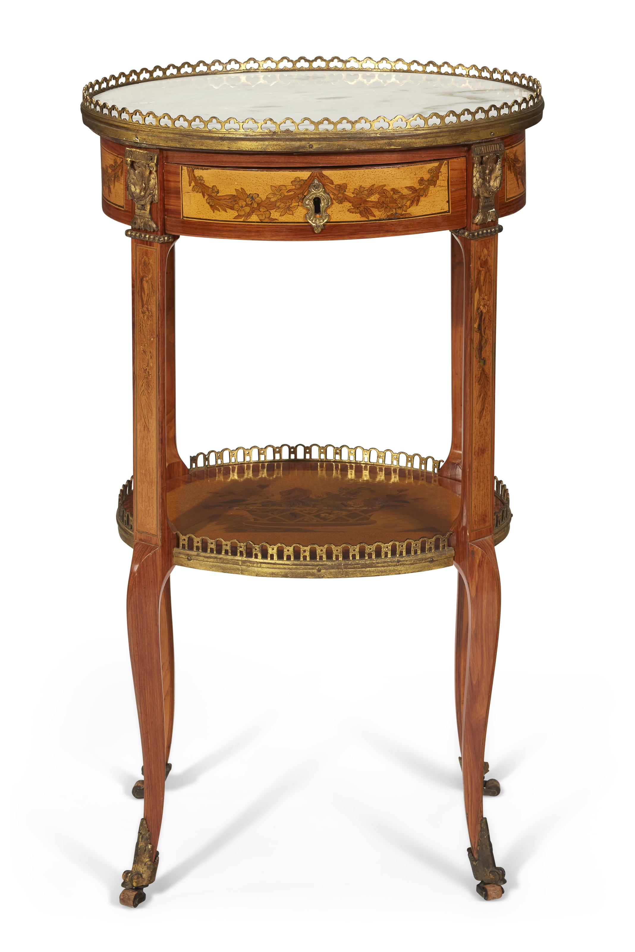 A late Louis XV ormolu-mounted tulipwood, fruitwood and marquetry table a écrire, by Charles Topino, c. 1770. 29  in (74  cm) high, 16½  in (42  cm) wide, 14½  in (37  cm) deep. Estimate $7,000-10,000. Offered in The Collector English & European Furniture, Ceramics, Silver & Works of Art on 5-19 October 2021 at Christie's Online