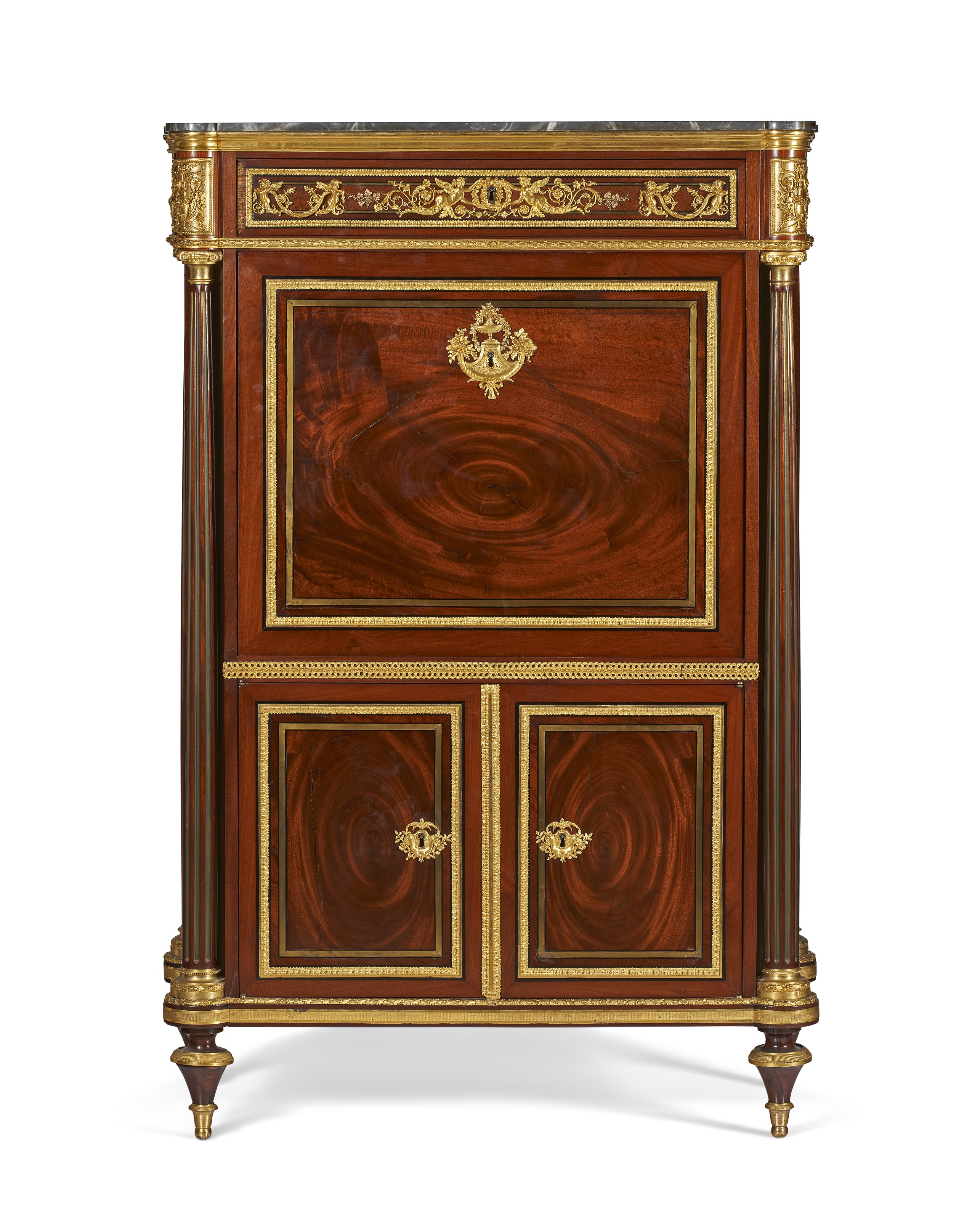 A late Louis XVI ormolu-mounted, brass and ebony-inlaid mahogany secretaire a abattant, c. 1790, attributed to Guillaume Beneman. 57¾  in (147  cm) high, 38  in (96.5  cm) wide, 17  in (43  cm) deep. Estimate $30,000-50,000. Offered in The Collector English & European Furniture, Ceramics, Silver & Works of Art on 5-19 October 2021 at Christie's Online