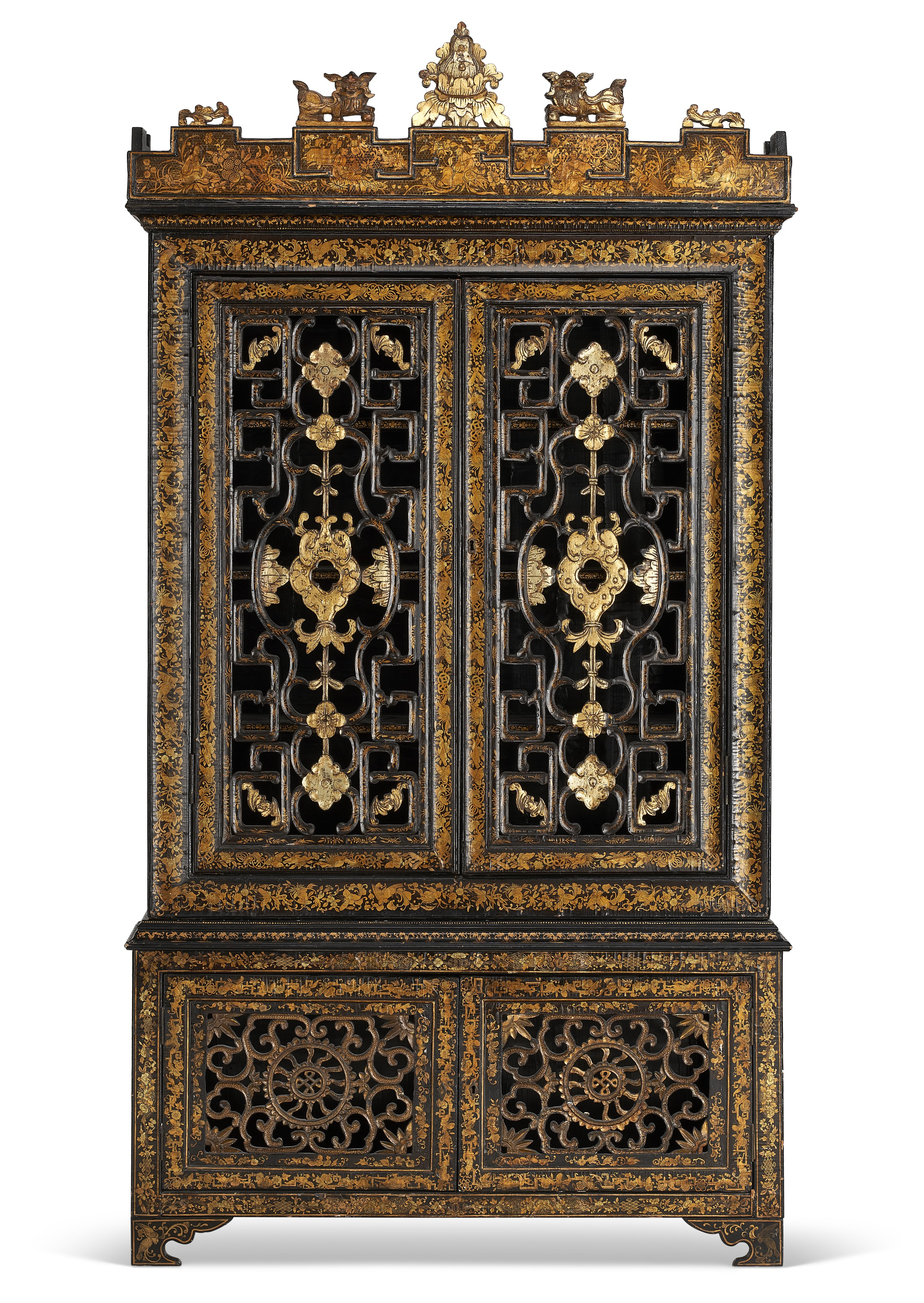 A Chinese export black and gilt-lacquer cabinet, Qing dynasty, second quarter 19th century. 90¼  in (229.2  cm) high, 47¼  in (120  cm) wide, 13¼  in (33.7  cm) deep. Estimate $8,000-12,000. Offered in The Collector English & European Furniture, Ceramics, Silver & Works of Art on 5-19 October 2021 at Christie's Online