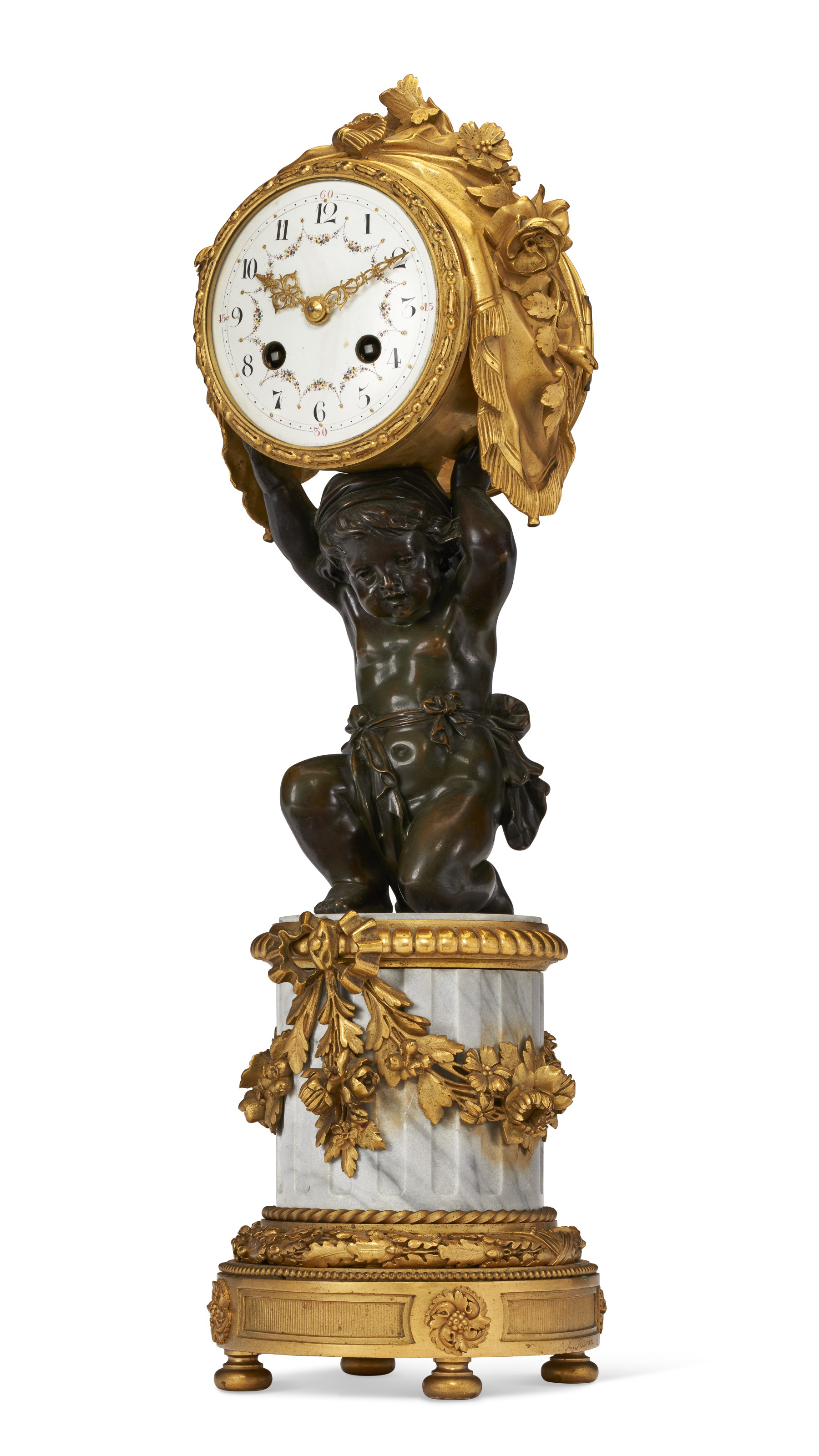 A French ormolu, patinated bronze and bleu turquin marble figural clock, signed A. Rapin, Paris, dated 1889. 18¼  in (46.4  cm) high. Estimate $5,000-8,000. Offered in The Collector English & European Furniture, Ceramics, Silver & Works of Art on 5-20 October 2021 at Christie's Online