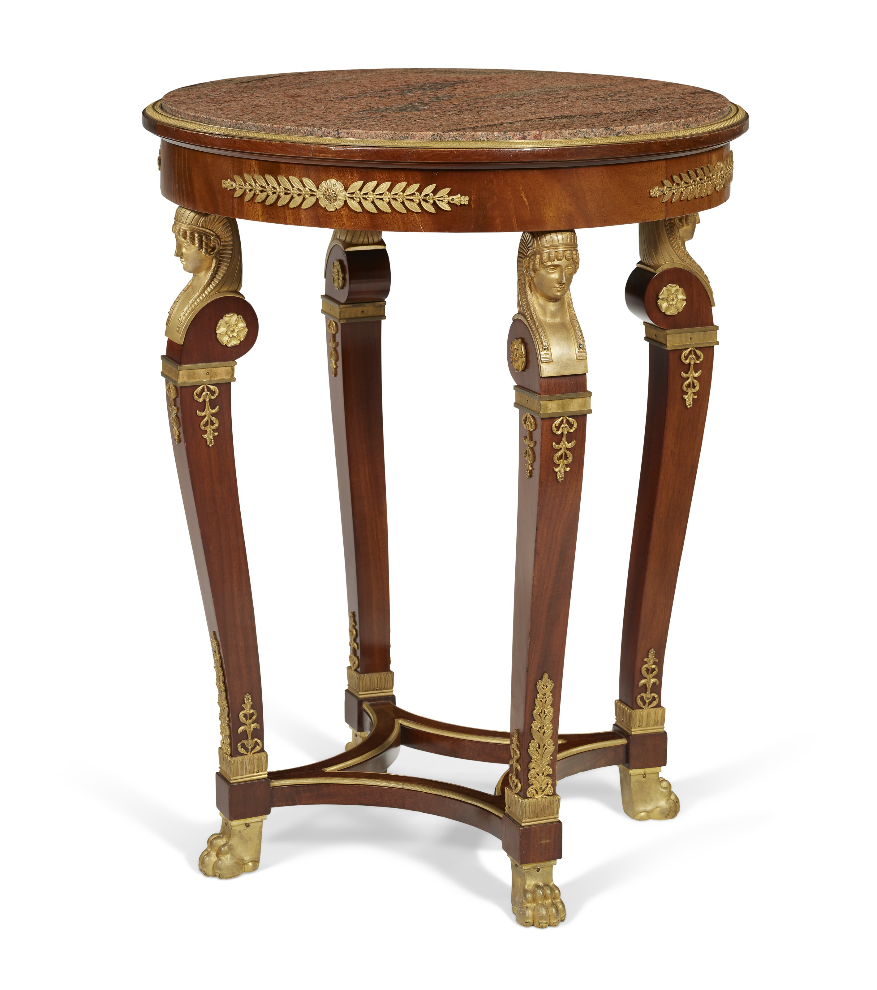A French ormolu-mounted mahogany gueridon, late 19th century. 30  in (76.2  cm) high, 23½  in (59.6  cm) diameter. Estimate $3,000-5,000. Offered in The Collector English & European Furniture, Ceramics, Silver & Works of Art on 5-19 October 2021 at Christie's Online
