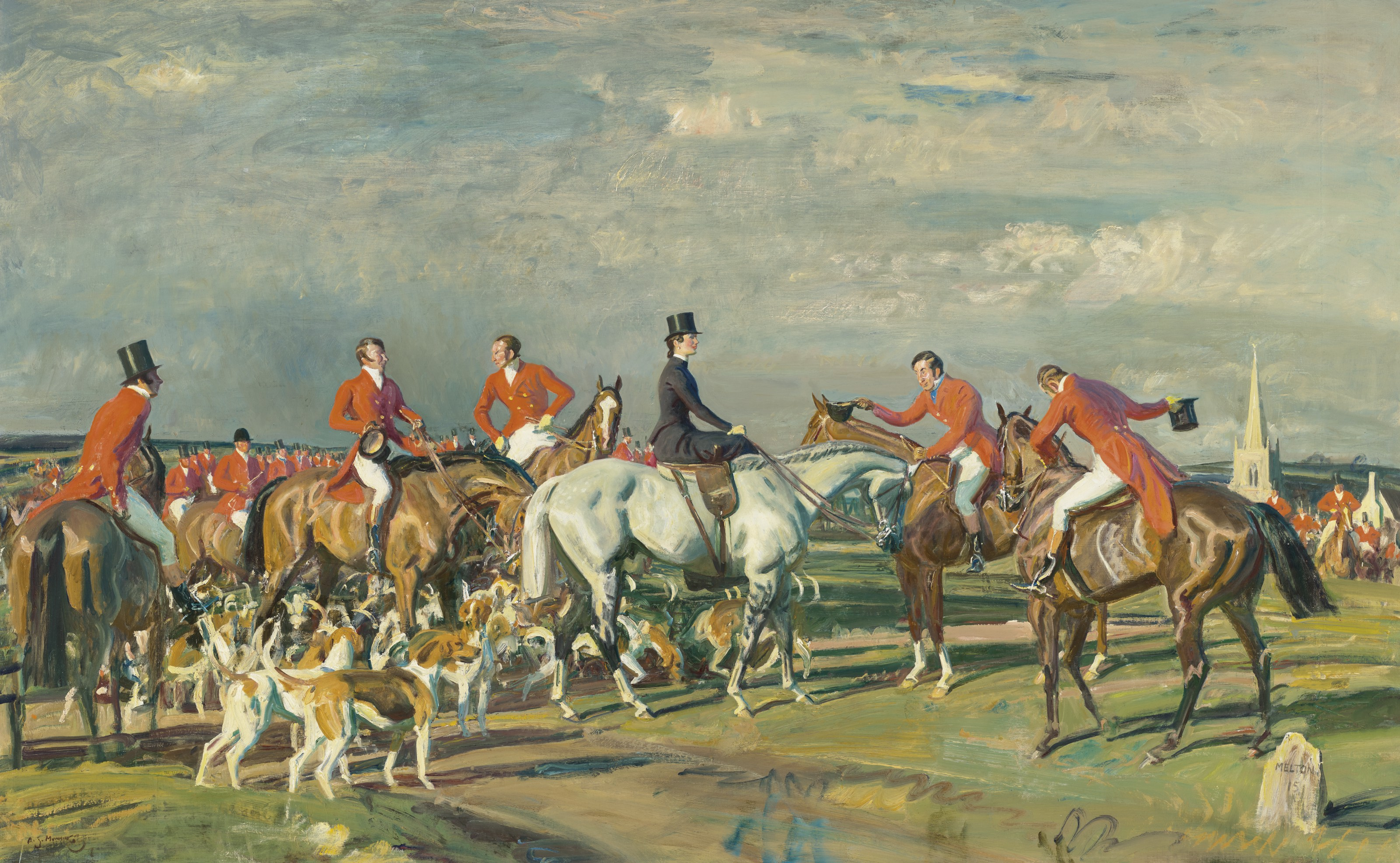 Sir Alfred James Munnings, P.R.A., R.W.S. (British, 1878-1959), Whos the lady and Two Studies. Oil on canvas. 44⅛ x 70  in (112.1 x 177.8  cm). Estimate $800,000-1,200,000. Offered in European Art Part I on 13 October 2021 at Christie's in New York