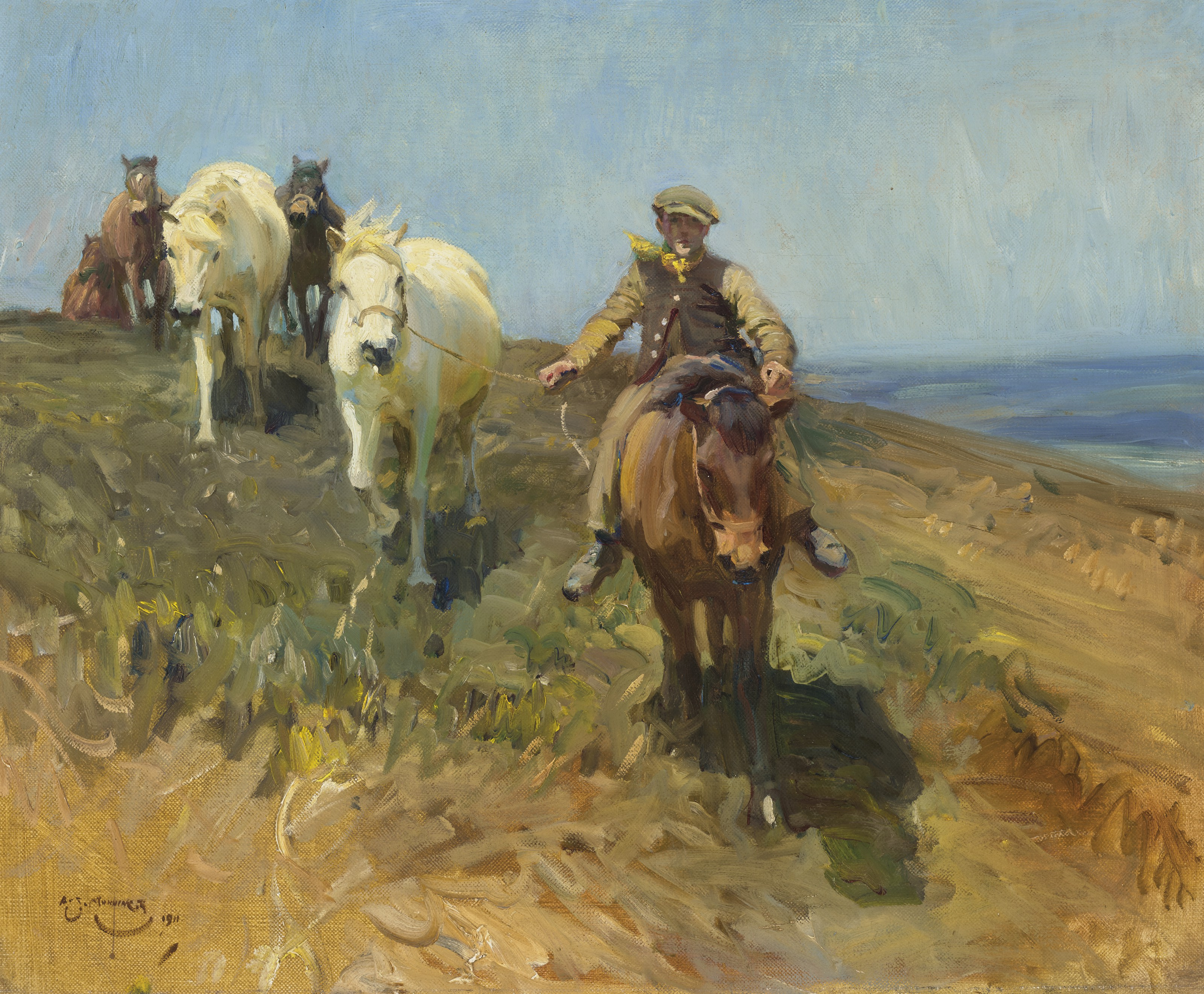 Sir Alfred James Munnings, P.R.A., R.W.S. (British, 1878-1959), Shrimp leading ponies across the Ringland Hills, Norfolk. OIl on canvas. 25 x 30  in (63.5 x 76.2  cm). Estimate $300,000-500,000. Offered in European Art Part I on 13 October 2021 at Christie's in New York