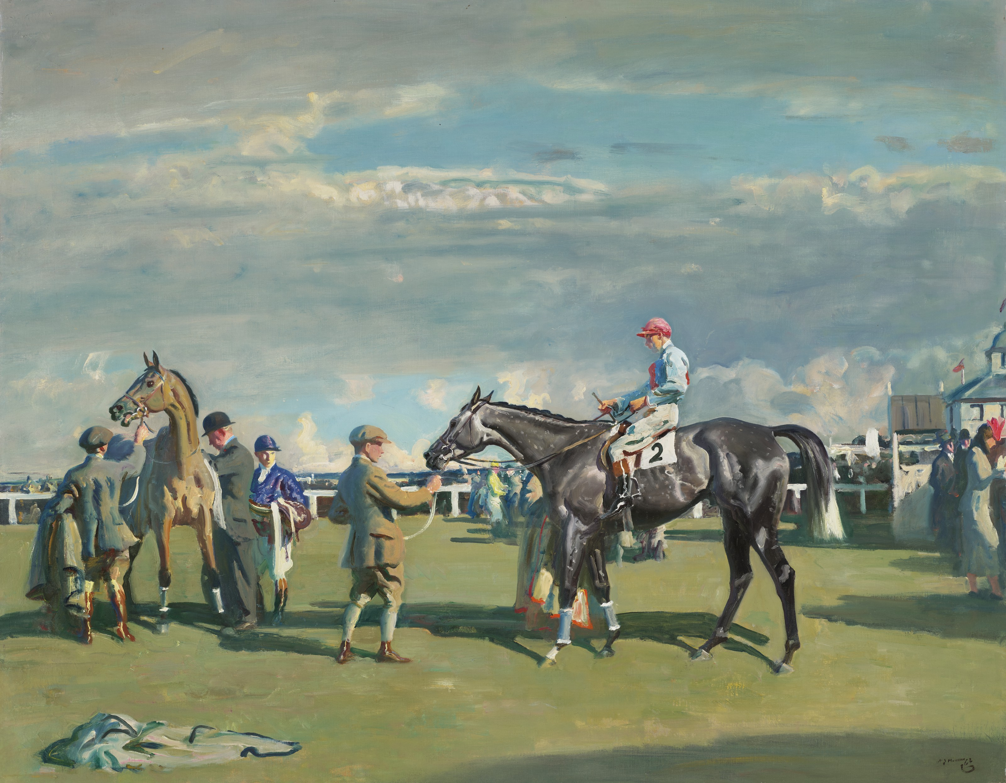 Sir Alfred James Munnings, P.R.A., R.W.S. (British, 1878-1959), After the Race, Cheltenham, 1937-1939.Oil on canvas. 36⅛ x 45½  in (91.8 x 115.6  cm). Estimate $700,000-1,000,000. Offered in European Art Part I on 13 October 2021 at Christie's in New York