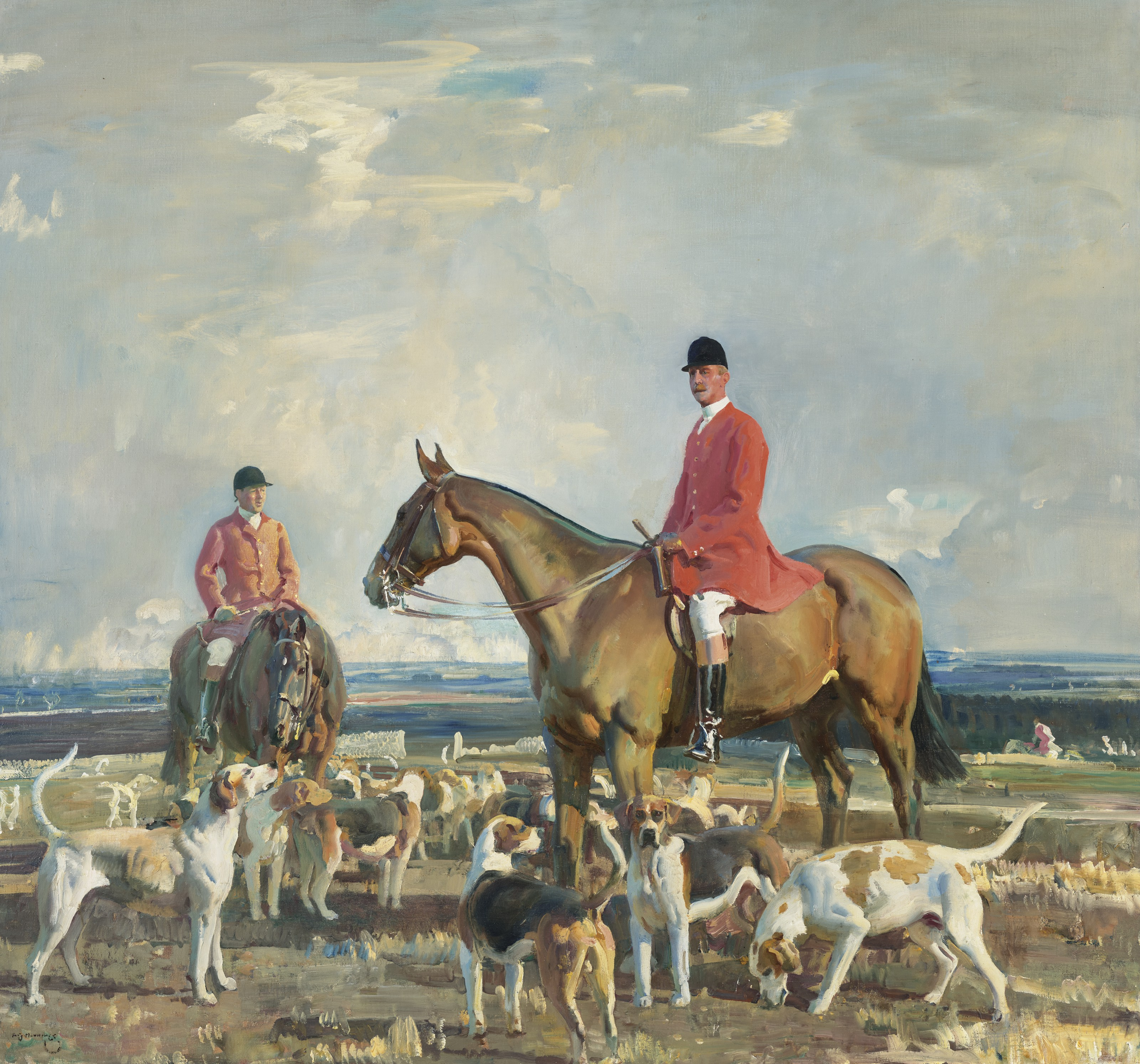 Sir Alfred James Munnings, P.R.A., R.W.S. (British, 1878-1959), The Seventh Earl of Bathurst, M.F.H. of the V.W.H. with Will Boore, Huntsman, 1921. Oil on canvas. 38 x 40½  in (96.5 x 102.9  cm). Estimate $400,000-600,000. Offered in European Art Part I on 13 October 2021 at Christie's in New York