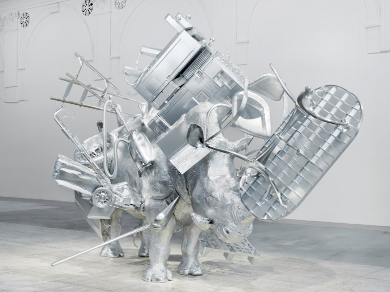 Urs Fischer (b. 1973), Things, 2017.Milled aluminum, steel, power magnets and two-component epoxy adhesive. 126 x 204⅜ x 118½ in (320 x 519 x 301 cm). Sold for $3,630,000 on 11 May 2021 at Christie's in New York. © Urs Fischer. Courtesy of the artist. Photo Stefan Altenburger