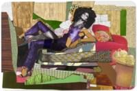 Racquel Reclining Wearing Purple Jumpsuit