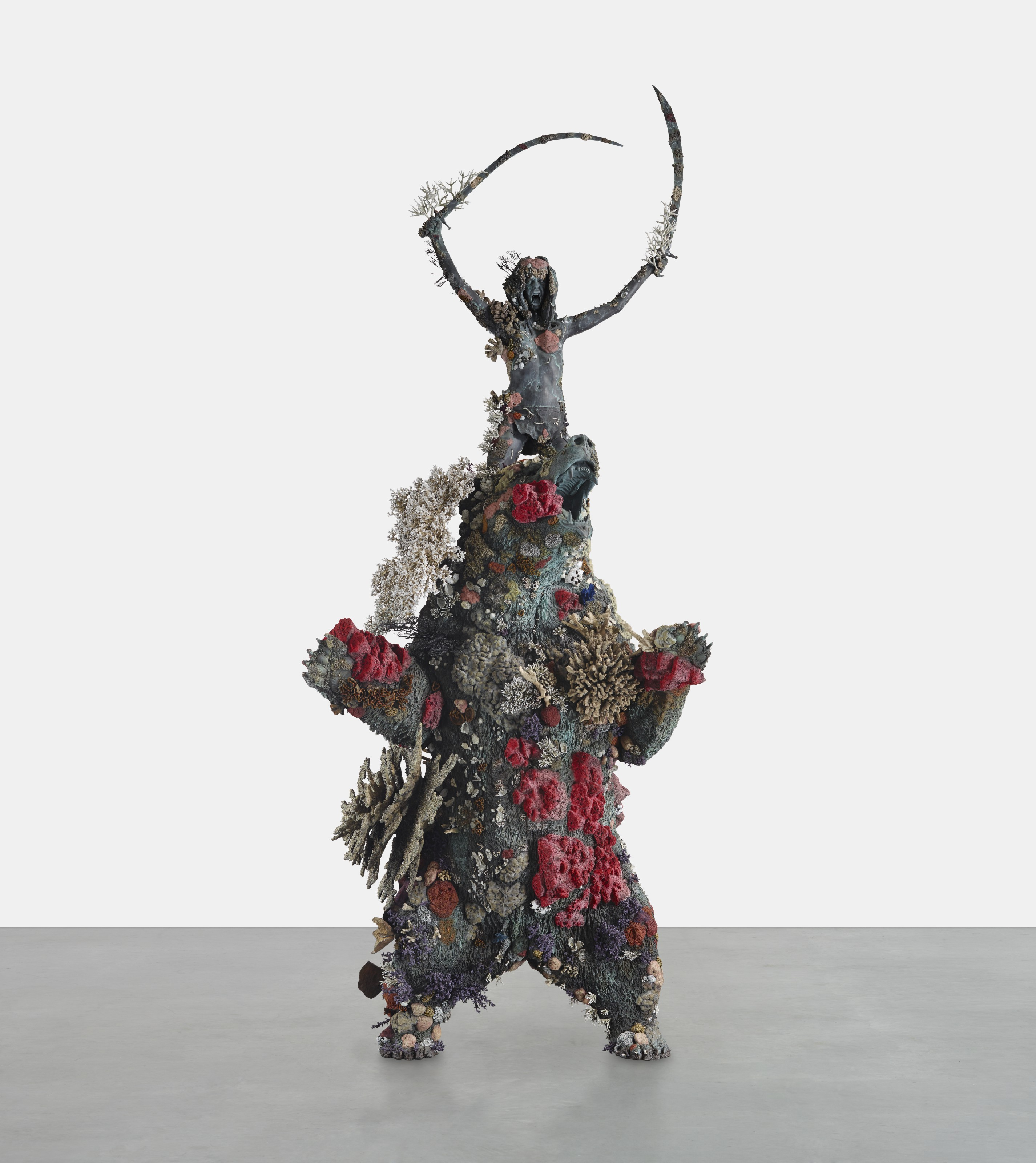 Damien Hirst (b. 1965), The Warriorand the Bear, 2015. Bronze. 280¾ x 102⅜ x 79⅞ in (713 x 260 x 203 cm). Estimate $3,000,000-5,000,000. Offered in 21st Century Evening Sale on 11 May 2021 at Christie's in New York
