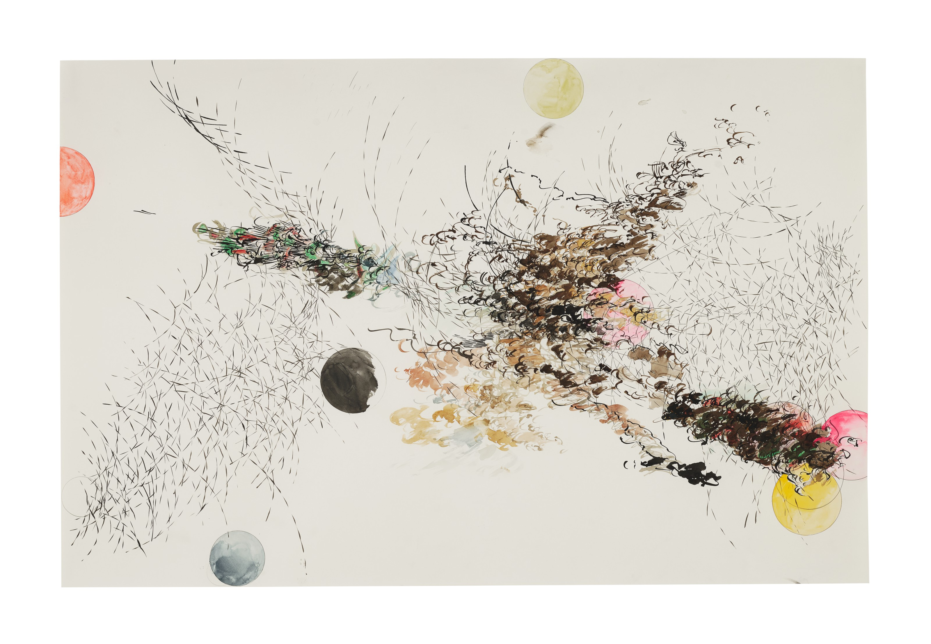 Julie Mehretu (b. 1970), Untitled, 2006.Graphite, watercolor and ink on paper. 26 x 40 in (66 x 101.6 cm). Estimate $120,000-180,000. Offered inPost-War to Present on 1 October 2021 at Christie's in New York