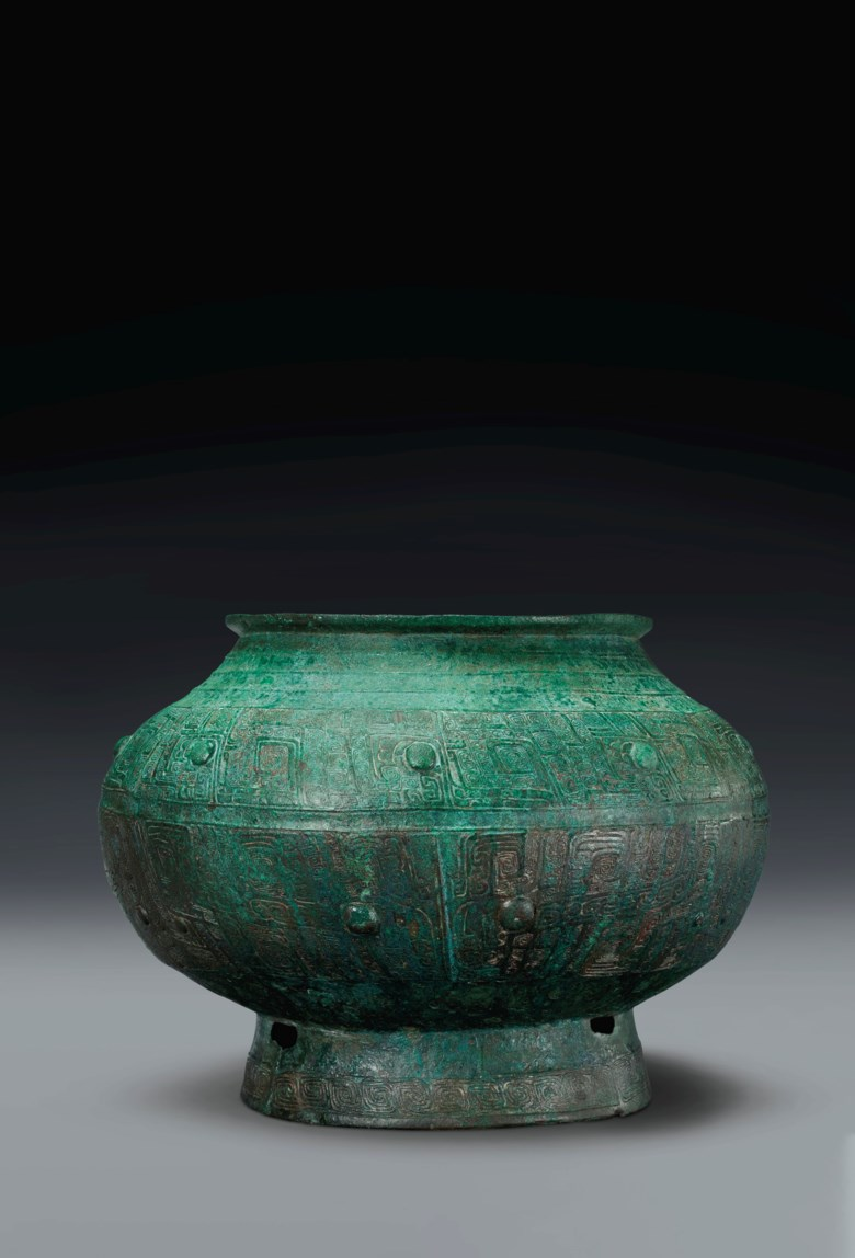 A bronze ritual wine vessel, pou. Late Shang dynasty, 13th-12th century B.C. 13 in (33 cm) diam. Estimate $200,000-300,000. Offered in Shang Early Chinese Ritual Bronzes from the Daniel Shapiro Collection on 18 March 2021 at Christies New York