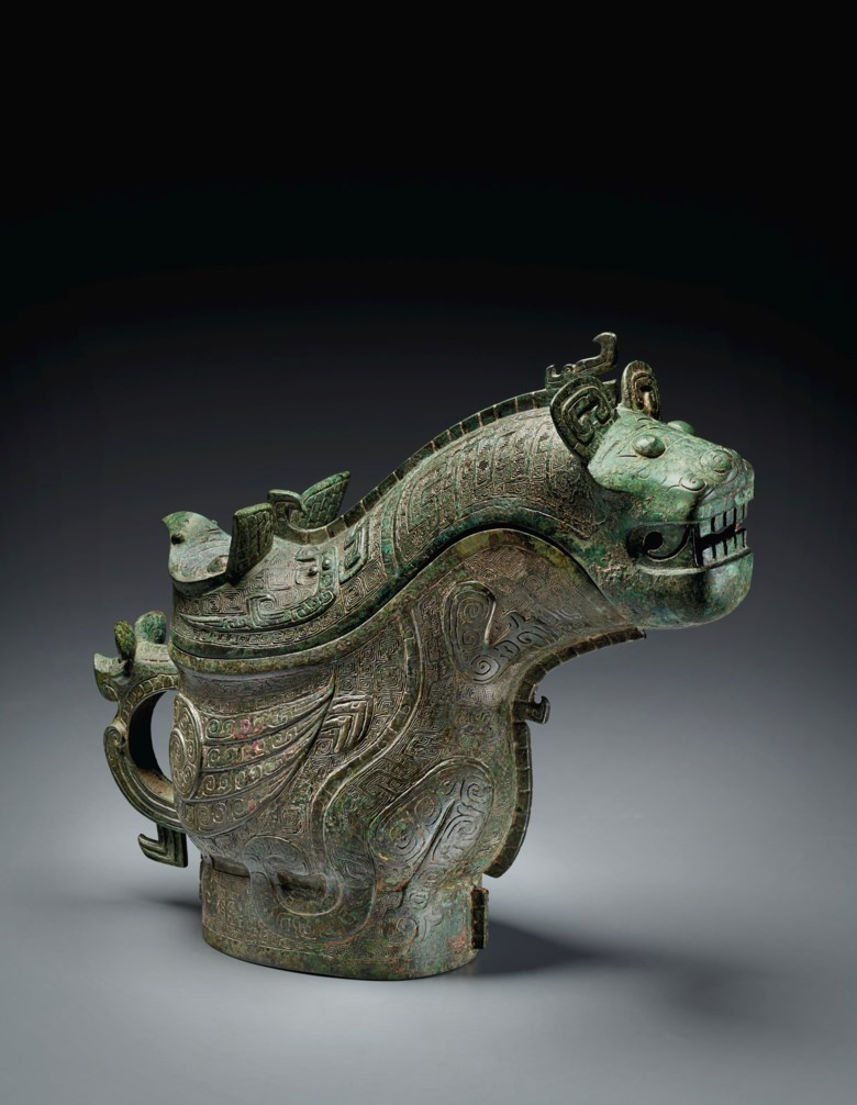 The Luboshez Gong. An exceptional and highly important bronze ritual wine vessel and cover, gong. Late Shang dynasty, Anyang, 13th-12th century B.C. 11¾ in (29.8 cm) long. Estimate $4,000,000-6,000,000. Offered in Shang Early Chinese Ritual Bronzes from the Daniel Shapiro Collection on 18 March 2021 at Christies New York