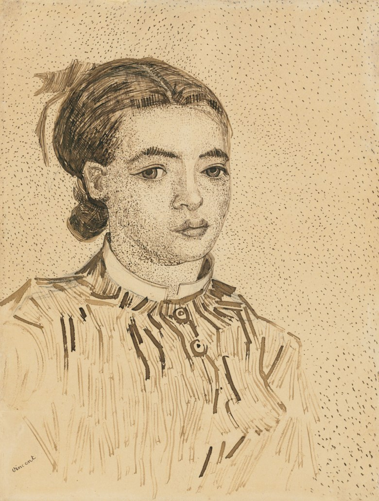 Vincent van Gogh (1853-1890) La Mousmé, 1888. Reed pen and brown ink over pencil on paper. 12½ x 9½ in (31.3 x 23.9 cm). Offered in A Family Collection Works on Paper, Van Gogh to Freud on 1 March at Christies in New York
