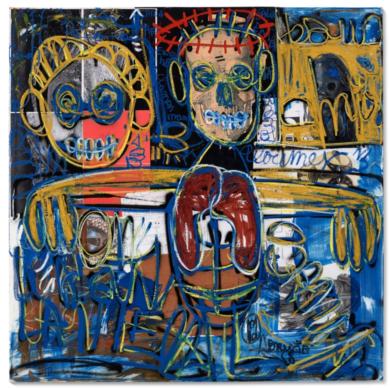 Aboudia (b.1983), La renaissance du Christ, 2020. Acrylic, oil stick and mixed media collage on canvas. 58¼ x 59 in (147.6 x 149.9 cm). Estimate $12,000-18,000. Offered in ABOUDIA  Noutchy in New York City, 25 February-12 March 2021, Online