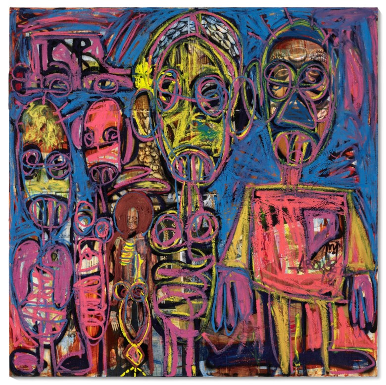Aboudia (b.1983), La famille, 2020. Acrylic, oilstick and mixed media collage on canvas. 58¼ x 59 in (148 x 149.9 cm). Estimate $12,000-18,000. Offered in ABOUDIA  Noutchy in New York City on 25 February-12 March 2021 at Christies in New York