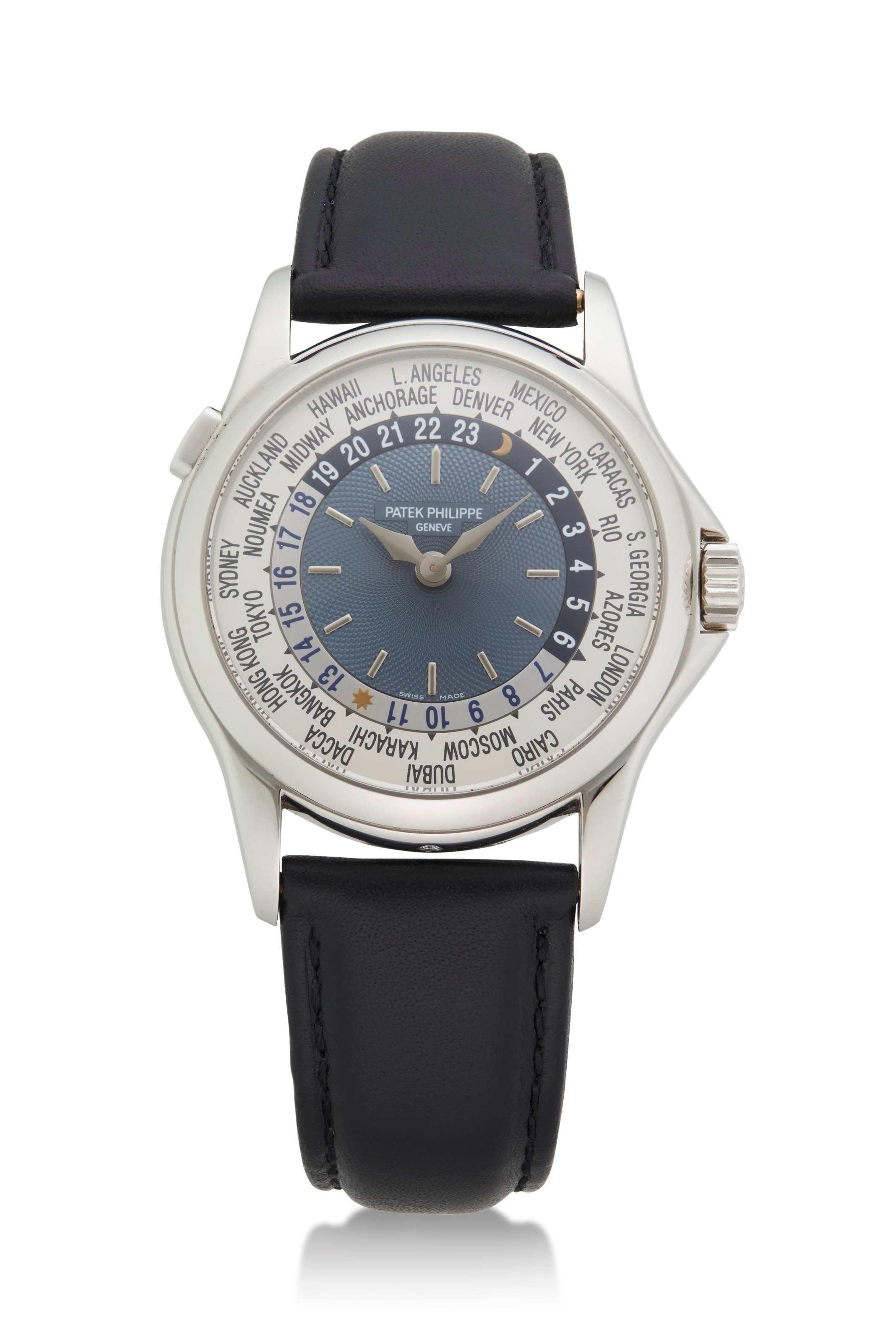 Patek Philippe, platinum World Time wristwatch. Ref. 5110P. Sold for $37,500 on 26 April 2021 at Christie's, Online