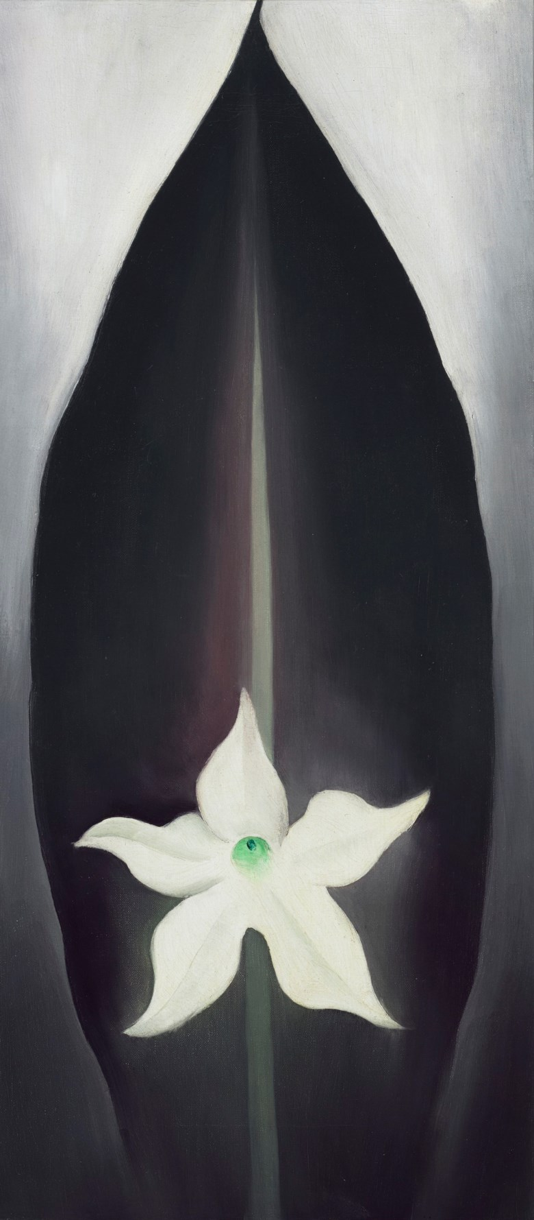 Georgia OKeeffe (1887-1986), Autumn Leaf with White Flower, 1926. Oil on canvas. 20 x 9 in (50.8 x 22.9 cm). Estimate $3,000,000-5,000,000. Offered in Fields of Vision The Private Collection of Artists Wolf Kahn and Emily Mason on 18 May at Christie's in New York