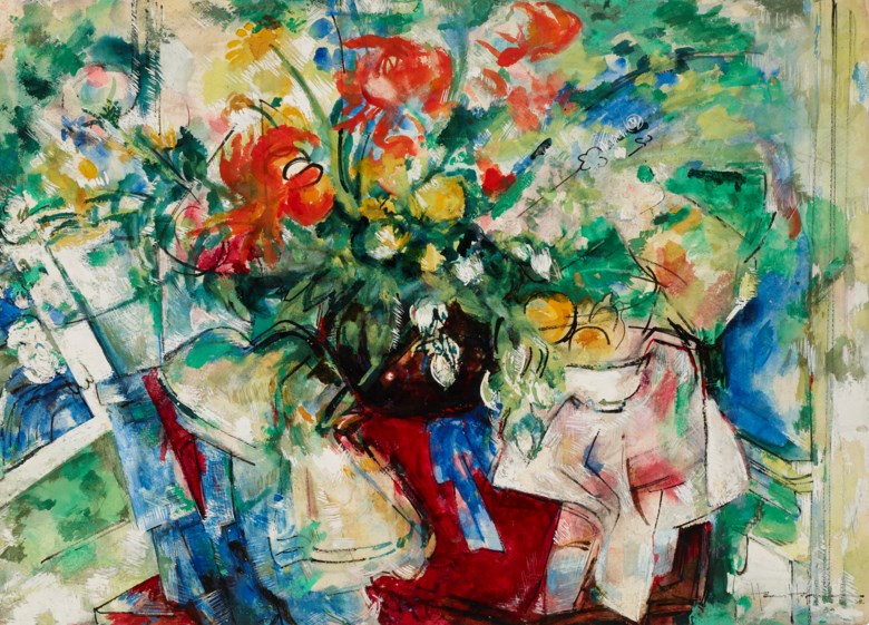 Hans Hofmann (1880-1966), Bouquet, 1938. Watercolor, ink and gouache on paper.  22¾ x 31⅜ in (57.8 x 79.7 cm). Estimate $30,000-50,000. Offered in Fields of Vision The Private Collection of Artists Wolf Kahn and Emily Mason on 18 May at Christie's in New York