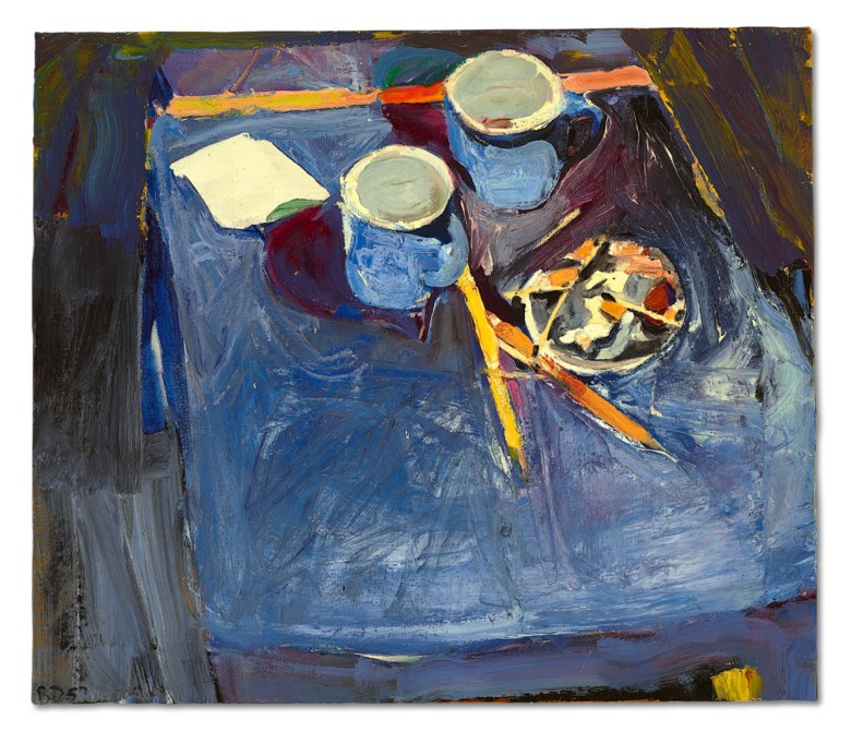 Richard Diebenkorn (1922-1993), Cups II, 1957. Oil on canvas. 20½ x 23⅞ in (52.1 x 60.6 cm). Estimate $500,000-700,000. Offered in Fields of Vision The Private Collection of Artists Wolf Kahn and Emily Mason on 18 May at Christie's in New York