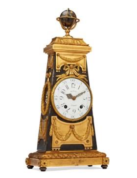 A LOUIS XVI ORMOLU AND SILVERED-BRONZE MANTEL CLOCK