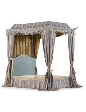 A LOUIS XV STYLE CREAM-PAINTED FOUR-POST BED