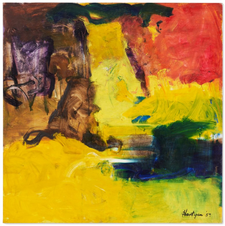 Grace Hartigan (1922-2008), Kansas, 1959. Oil on canvas. 87¾ x 86¾ in (222.9 x 220.3 cm). Price on request. Offered in Grace Hartigan No Ruleson 17 July-8 August 2021 at Christie's Southampton