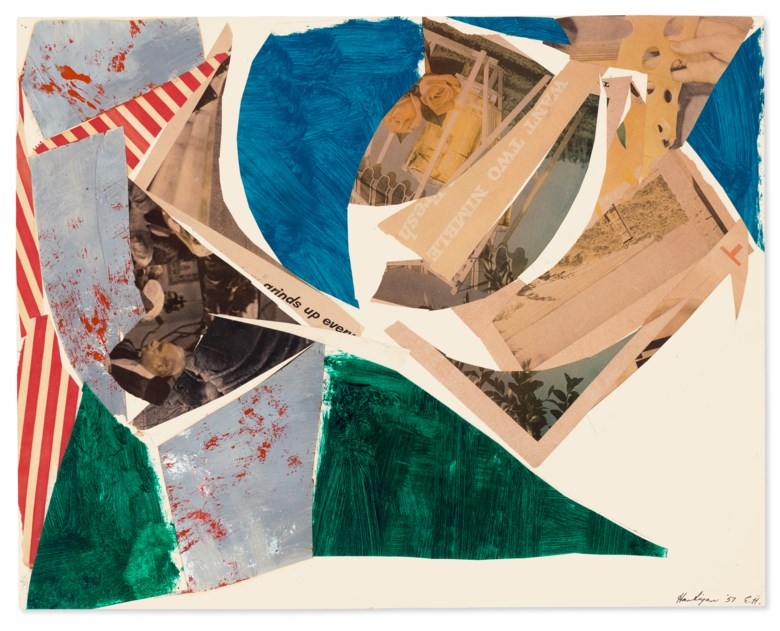 Grace Hartigan (1922-2008), Study for Montauk Highway II, 1957. Oil, paper collage and printed paper collage on paper. 22½ x 28½ in (57.1 x 72.4 cm). Price on request. Offered in Grace Hartigan No Ruleson 17 July-8 August 2021 at Christie's Southampton