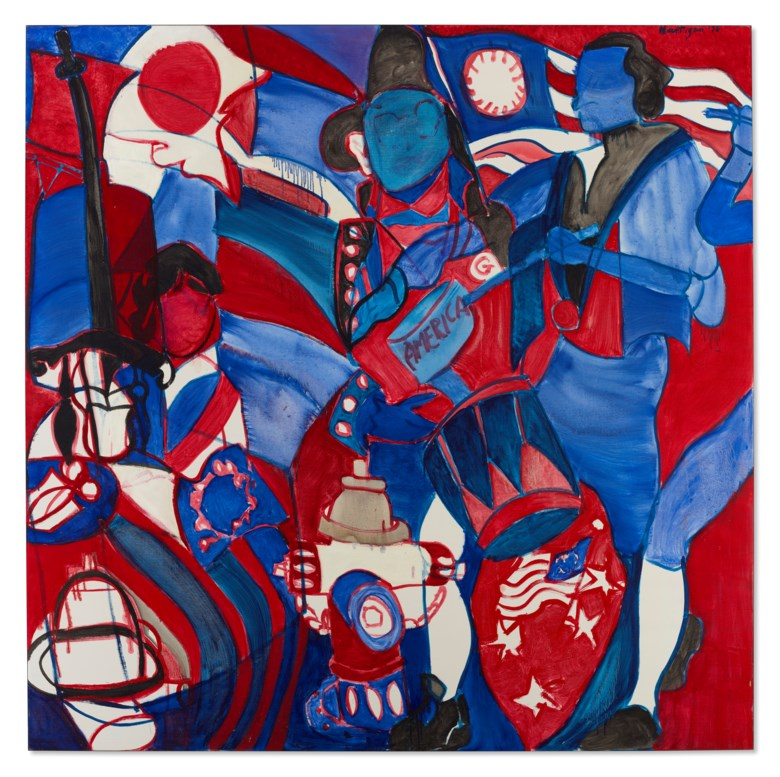 Grace Hartigan (1922-2008), America's Bicentennial, 1976. Oil on canvas. 80 x 80 in (203.2 x 203.2 cm). Price on request. Offered in Grace Hartigan No Ruleson 17 July-8 August 2021 at Christie's Southampton