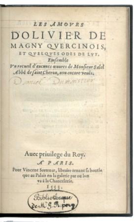 MAGNY, Olivier de (1529-1561) Les Amours d'Olivier de Magny
