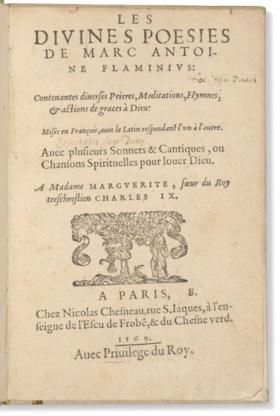 MARQUETS, Anne de (1533 - 1588) Les Divines Poésies de Marc