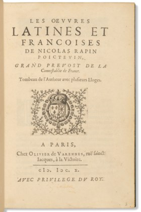 RAPIN, Nicolas (1535-1608) Les Œuvres latines et françoises