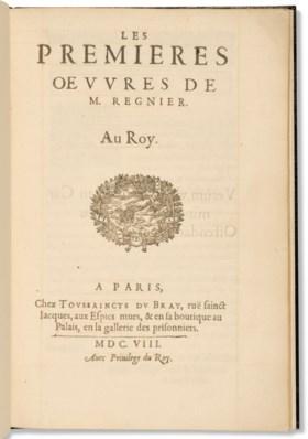 RÉGNIER, Mathurin (1573-1613) Les Premieres œuvres de M Regn
