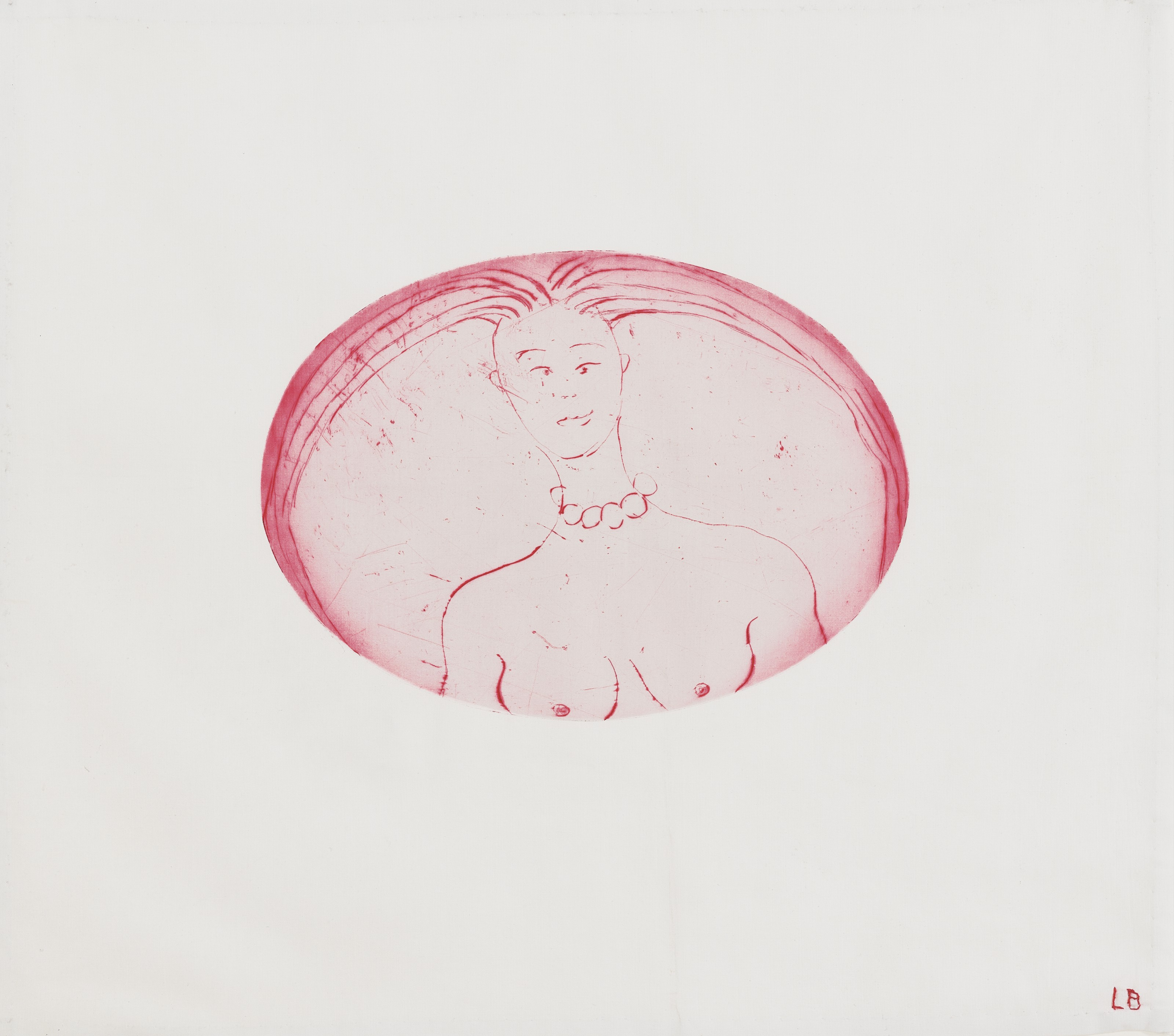 Louise Bourgeois (1911–2010), The cross-eyed woman I, 2004. Drypoint printed on fabric. 15⅛ x 17¼  in (38.4 x 43.8  cm). Estimate €6,000-8,000. Offered in Women in Art on 16 June 2021 at Christie's in Paris