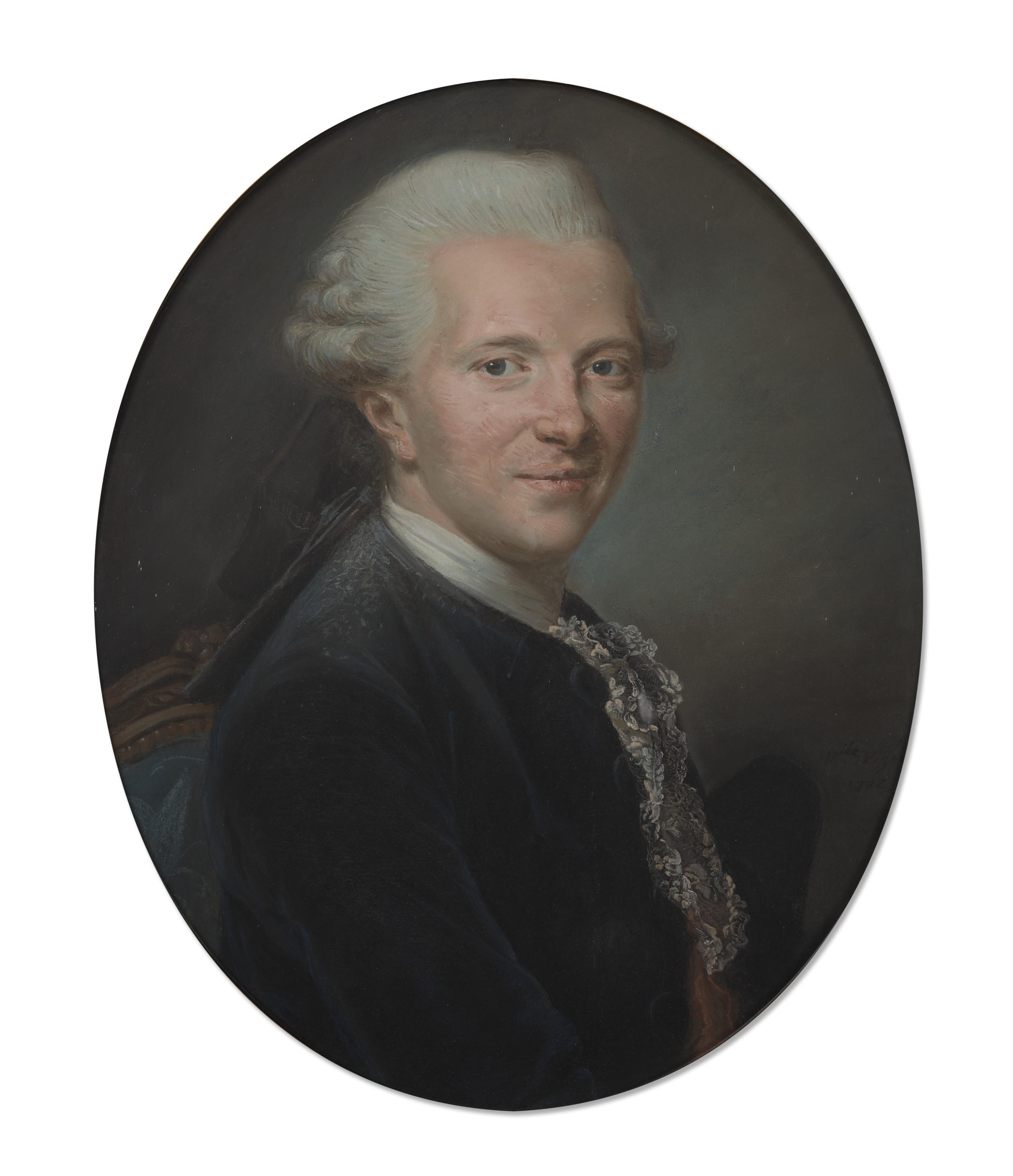 Élisabeth Louise Vigée Le Brun (1755–1842), Portrait d'Alexis-Féréol Perrin de Sanson (1733–1820), 1772. Pastel on paper. 21⅞ x 18¼  in (55.6 x 46.5  cm). Estimate €50,000-70,000. Offered in Women in Art on 16 June 2021 at Christie's in Paris