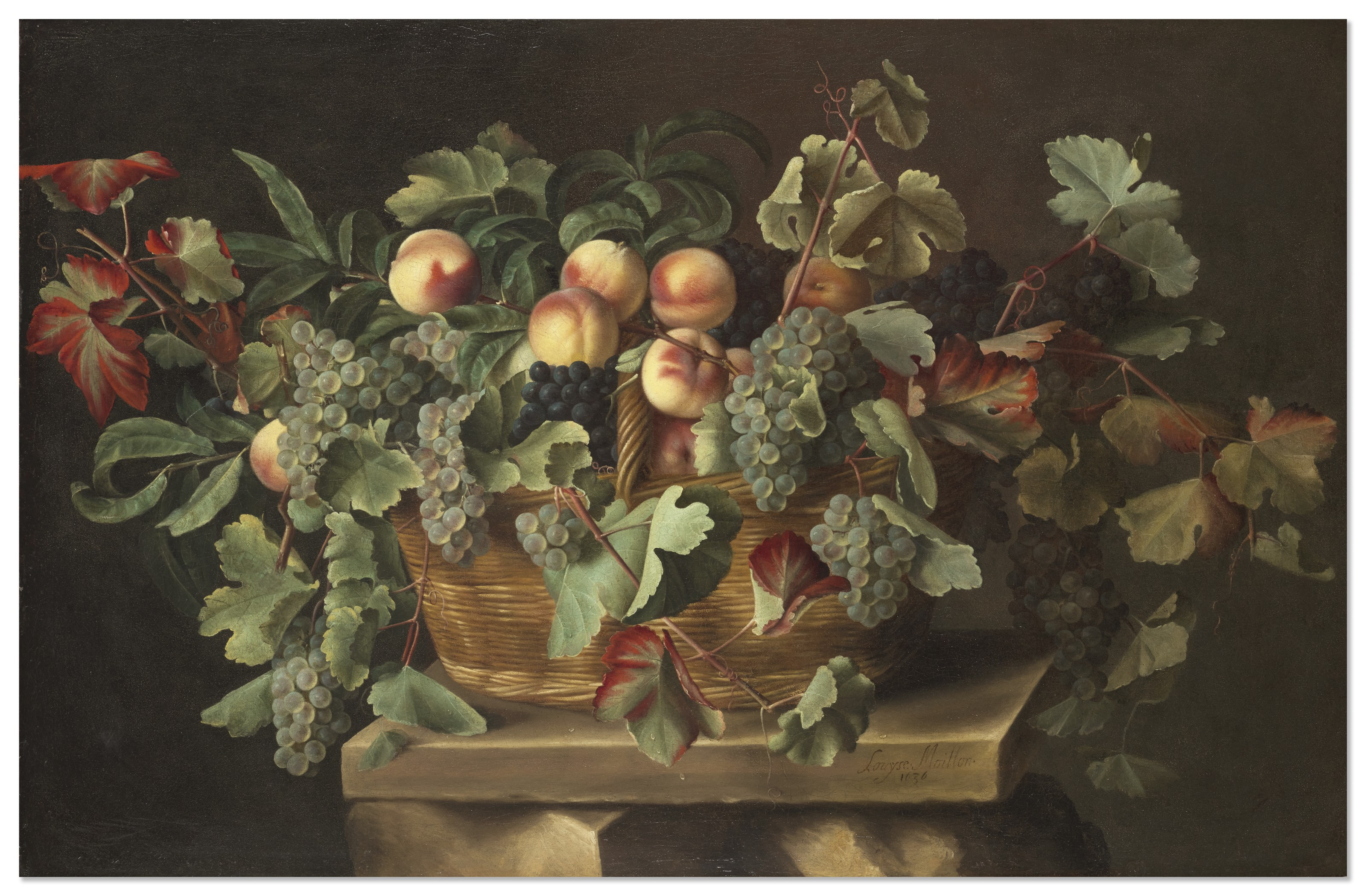 Louyse Moillon (1610–1696), Still life with peaches and grapes, 1636. Oil on canvas. 26 x 39 116  in (66 x 99.5  cm). Estimate €300,000-500,000. Offered in Women in Art on 16 June 2021 at Christie's in Paris