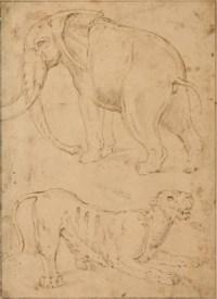 Étude d'un éléphant et d'une panthère
