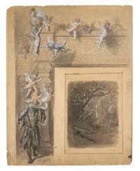 Étude pour Médor et Angélique du Roland Furieux de l'Arioste (recto) ; Esquisse d'une chaire (verso)