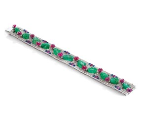 Art deco multi-gem tutti frutt