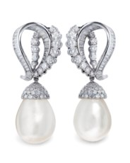 Natural pearl and diamond earr
