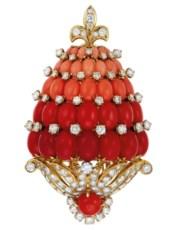 Coral and diamond pomegranate
