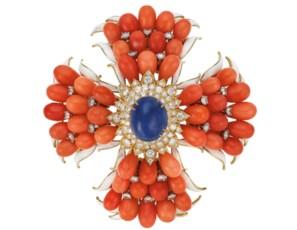 Coral, diamond, sapphire and e