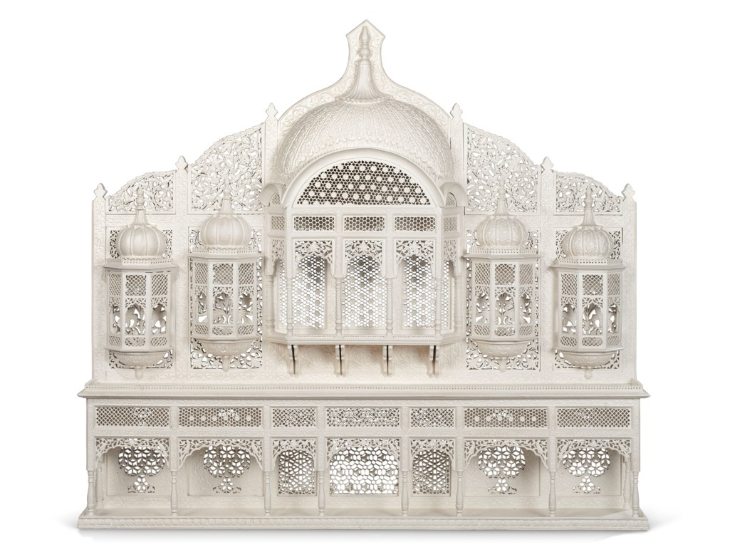 AN INDIAN WHITE-PAINTED ARCHITECTURAL FACADE