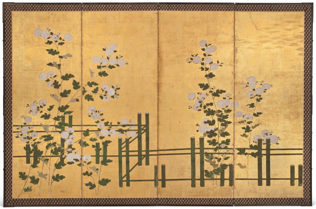 A JAPANESE FOUR-FOLD SCREEN