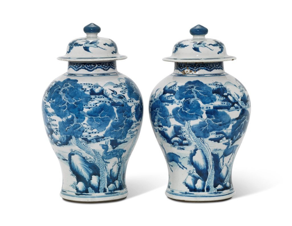 TWO CHINESE BLUE AND WHITE 'DEER AND CRANE' BALUSTER VASES AND COVERS