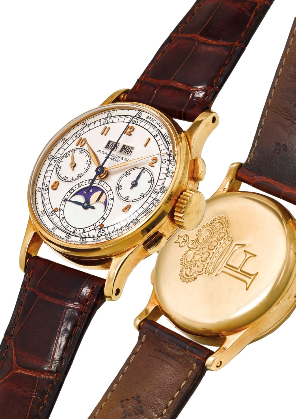 PATEK PHILIPPE. AN EXTREMELY FINE, RARE AND HISTORICALLY IMPORTANT 18K GOLD PERPETUAL CALENDAR CHRONOGRAPH WRISTWATCH WITH MOON PHASES