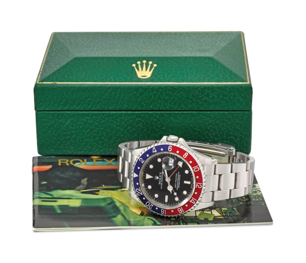 ROLEX. A FINE AND RARE STAINLESS STEEL DUAL TIME AUTOMATIC WRISTWATCH WITH SWEEP CENTRE SECONDS, DATE, BRACELET AND BOX