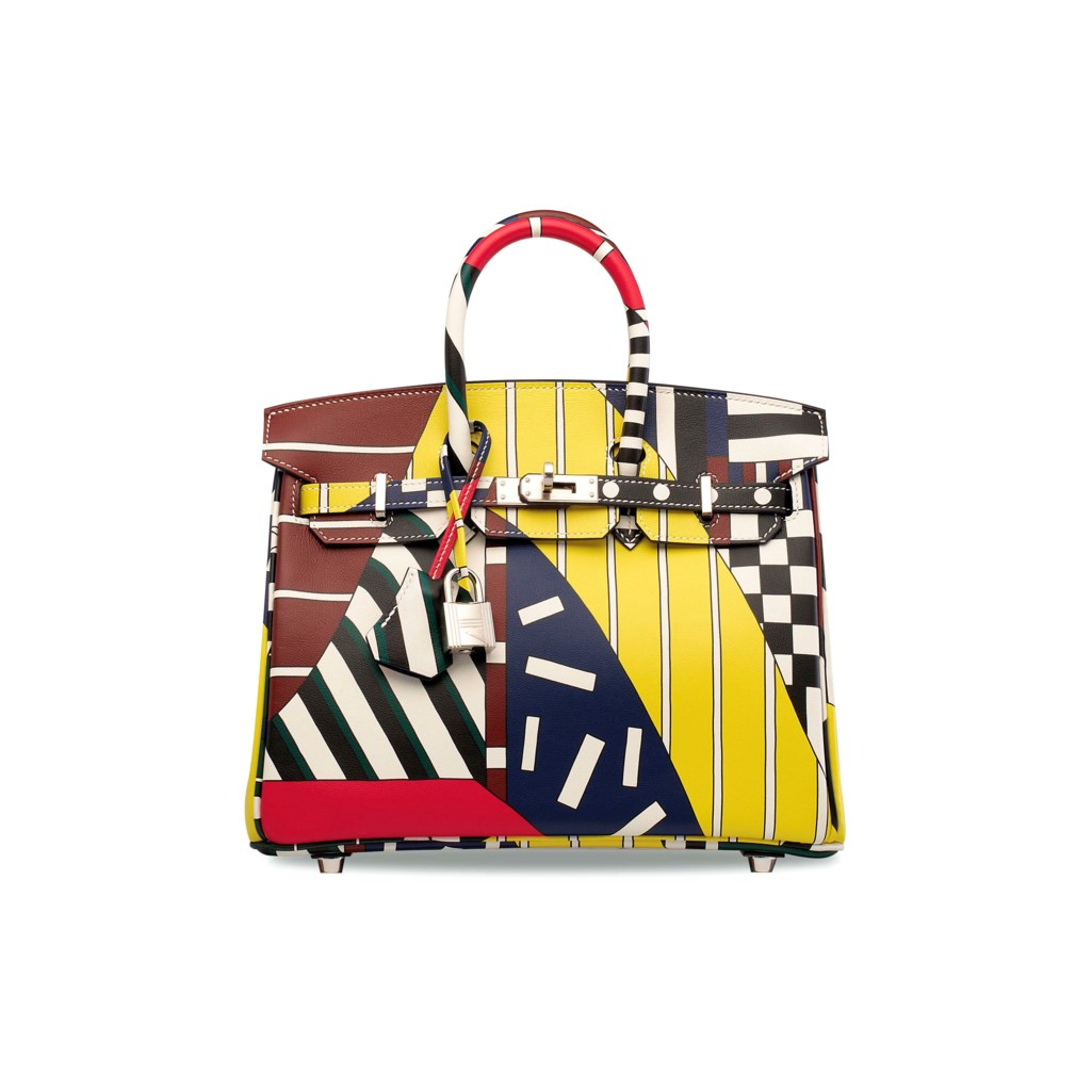 A LIMITED EDITION MULTICOLOR SWIFT LEATHER ONE TWO THREE & AWAY WE GO BIRKIN 25 WITH PALLADIUM HARDWARE