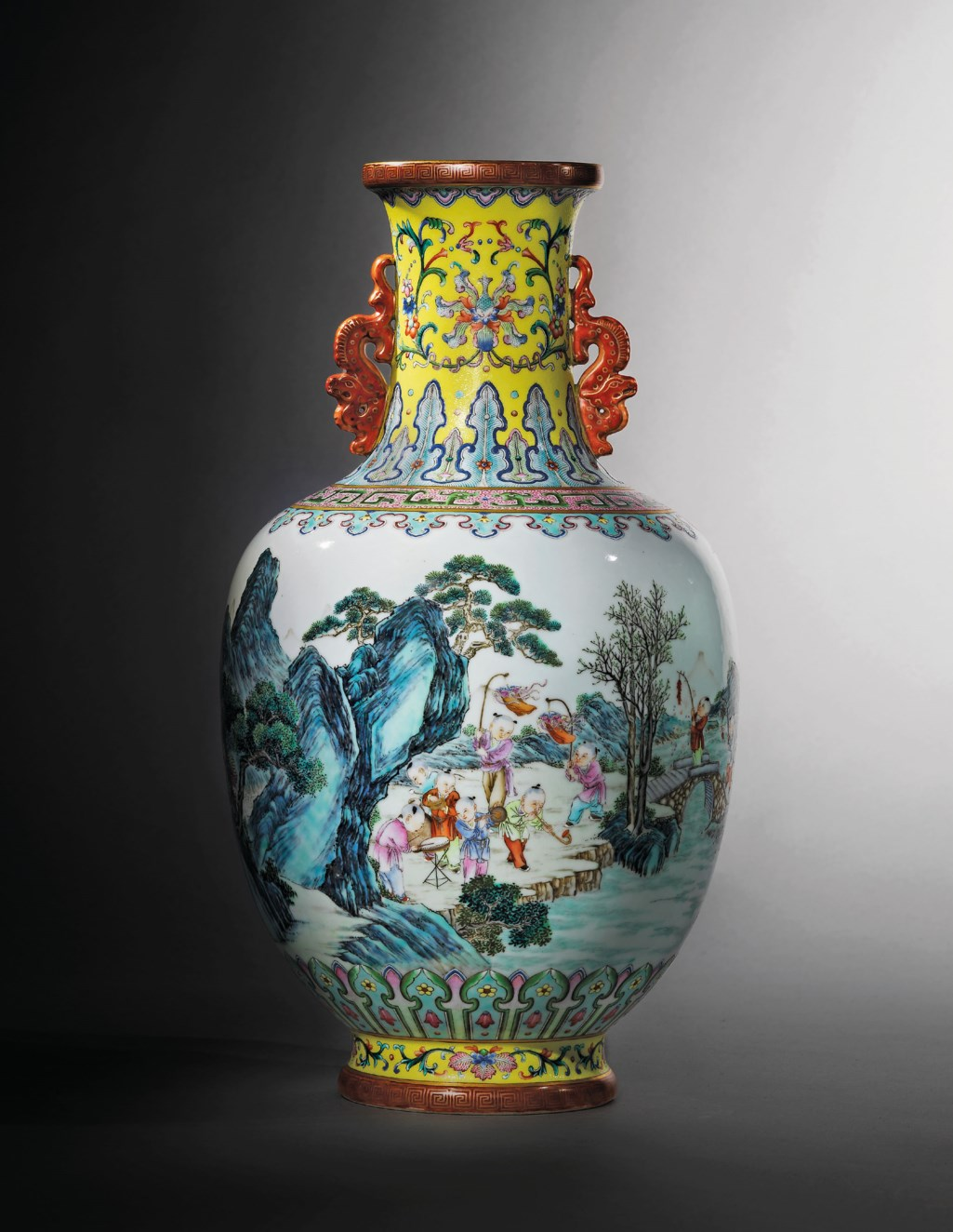 A FINE AND SUPERB YANGCAI YELLOW-GROUND 'BOYS' VASE