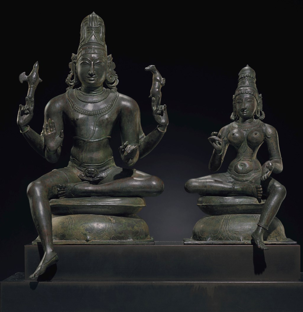 AN IMPORTANT BRONZE GROUP OF SHIVA AND UMA